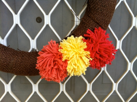 Three fall pom-poms.