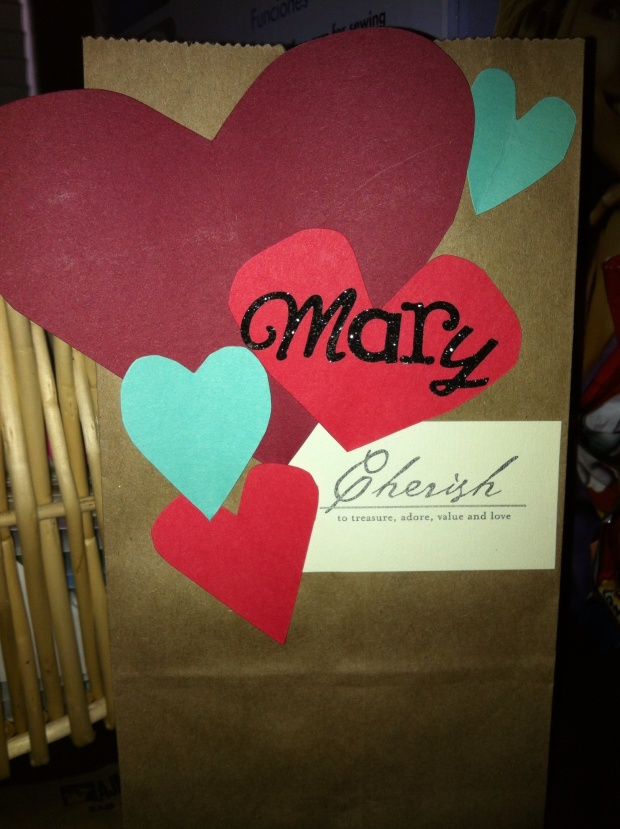 An example of my first treat bag for our niece, Mary.